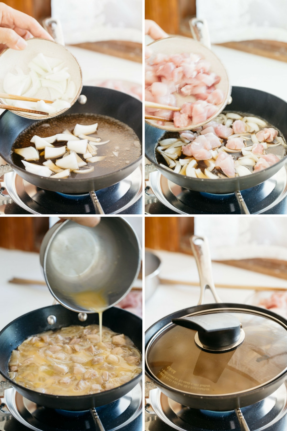 4 panels of photograph showing the process of making Oyako Donburi
