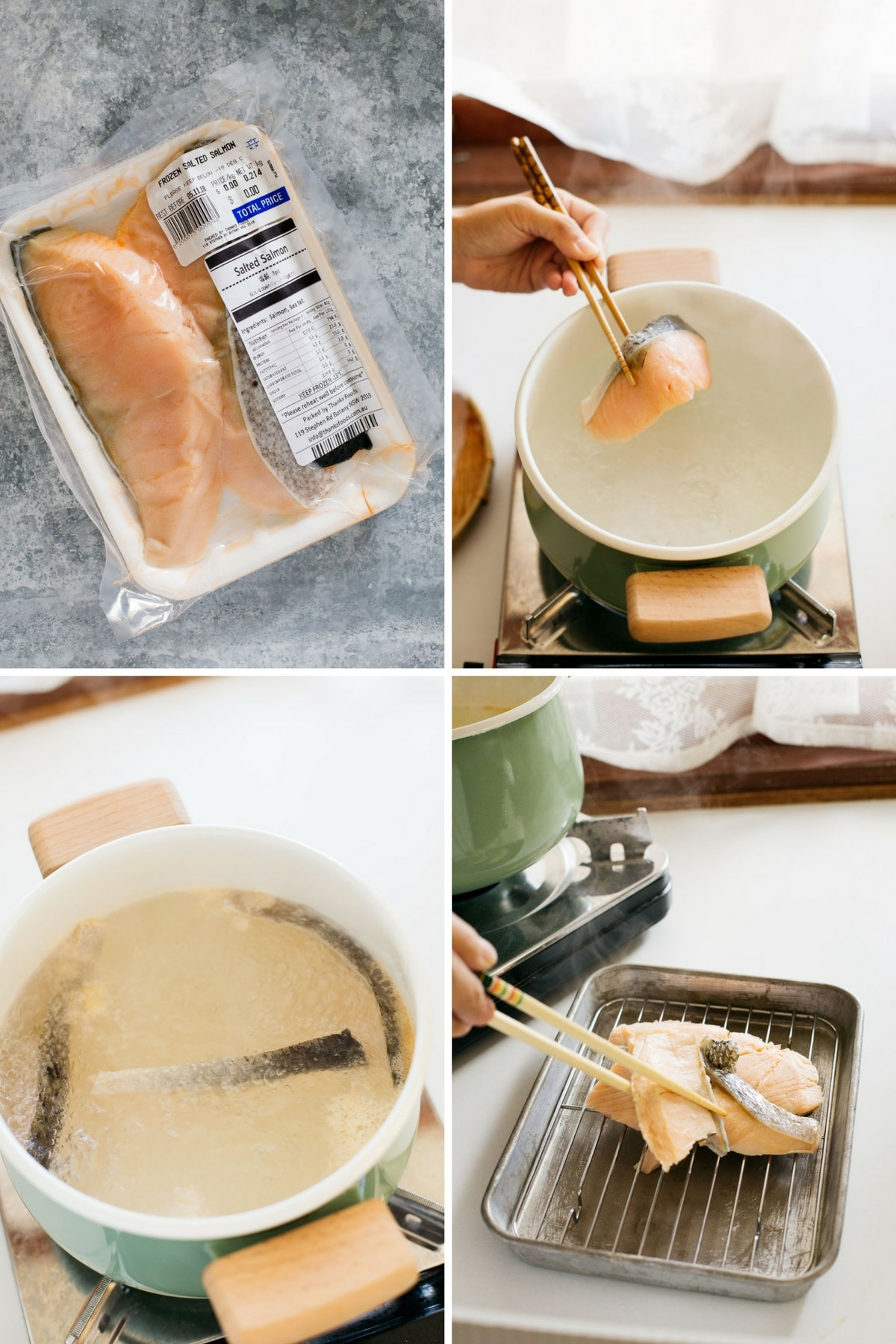 4 panels of photos showing the first 4 steps of making salmon Soboro