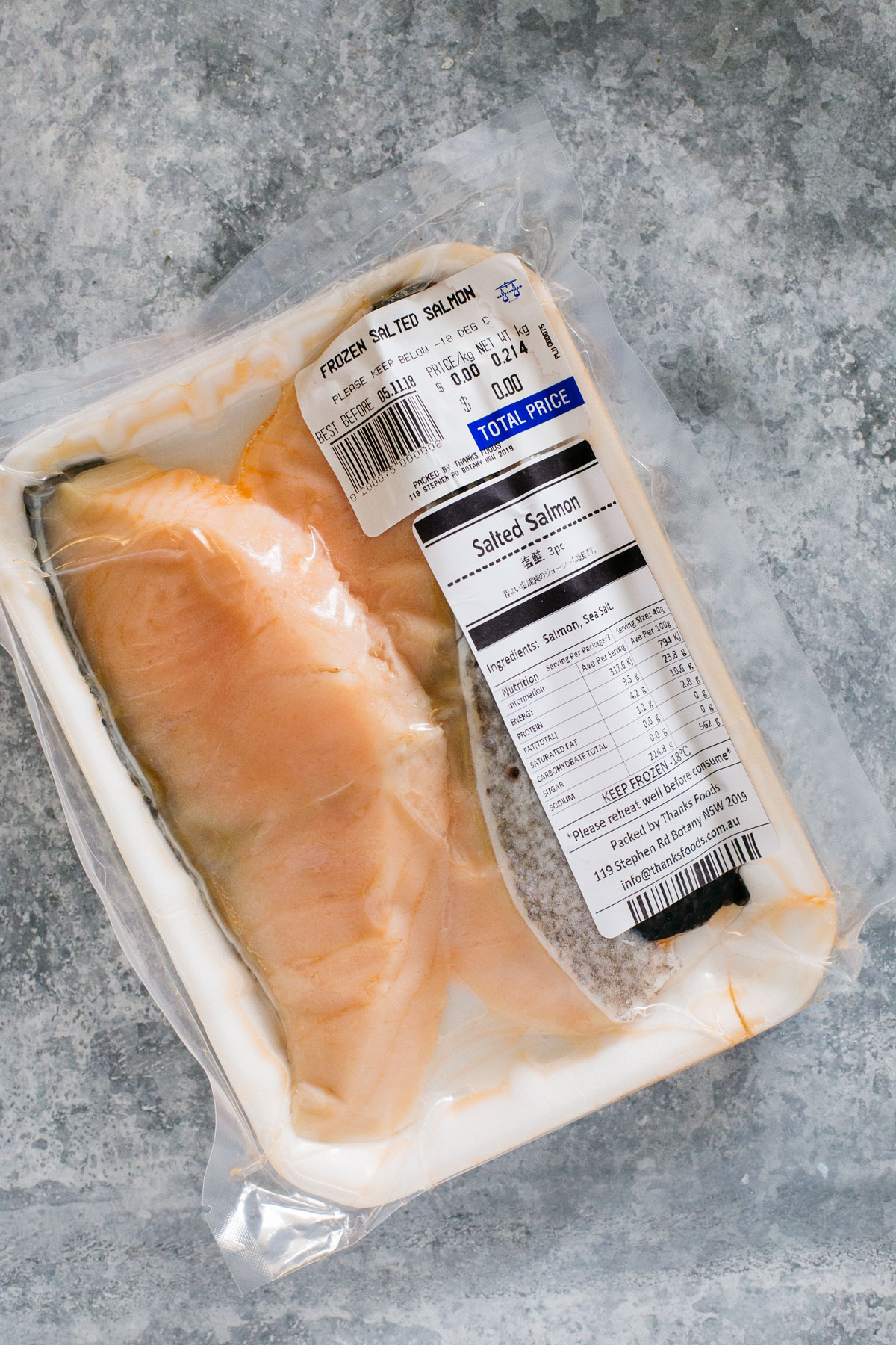 store bought three slices of salted salmon in store package