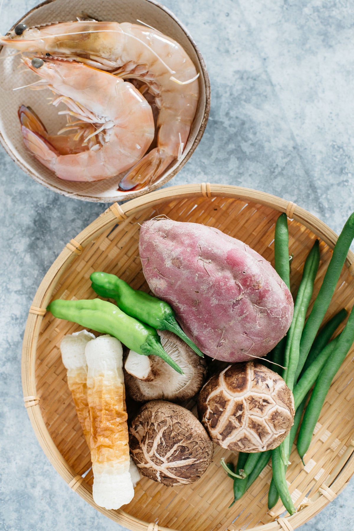 Tempura Donburi ingredients-prawns, fish cake Chikuwa, shiitake mushrooms, purple sweet potato, shishito, green beans.