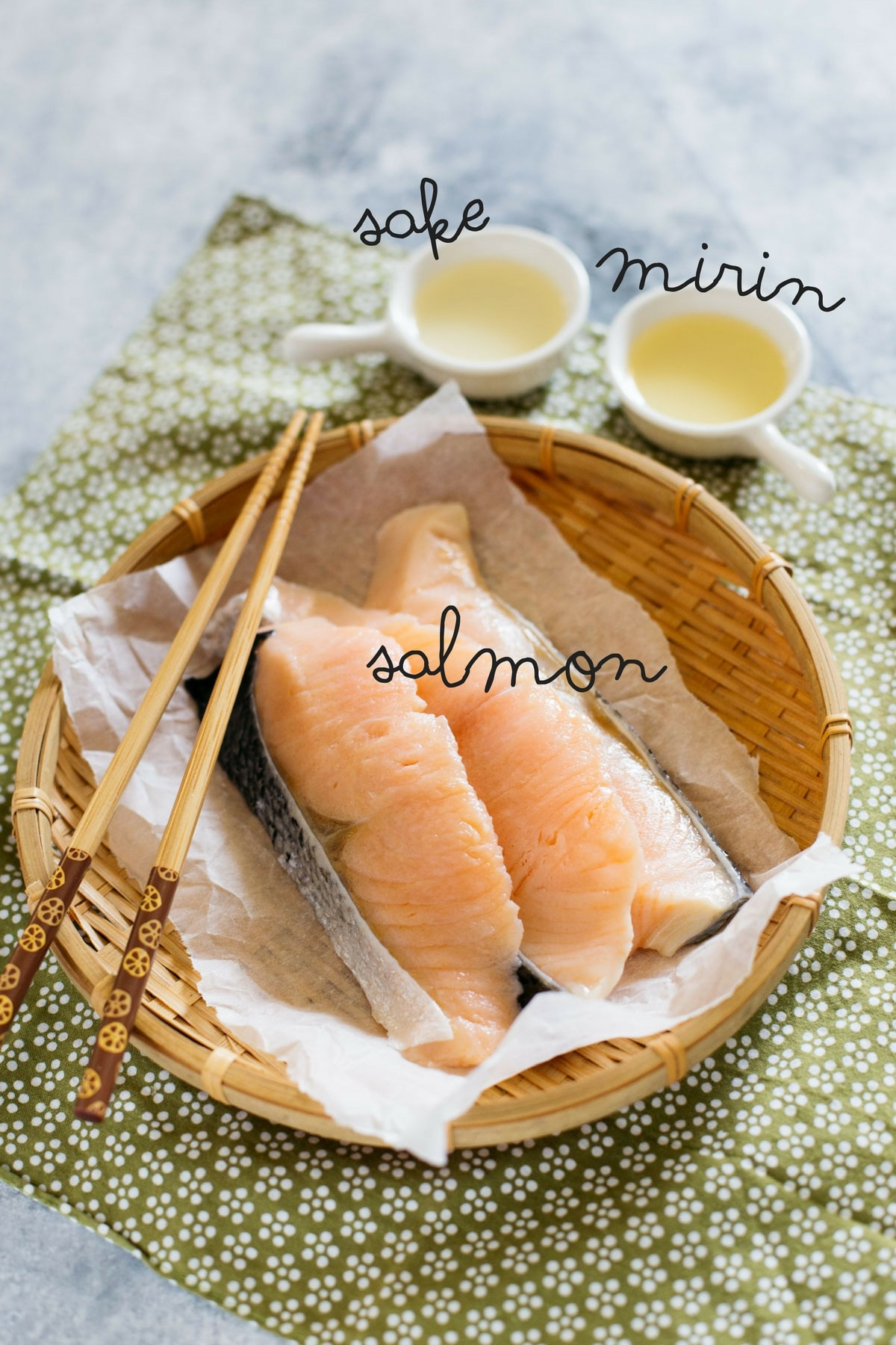 Salmon soboro's three ingredients, salted salmon, sake and mirin