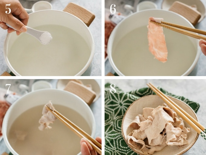4 panels of photos showing the process of making pork shabu shabu