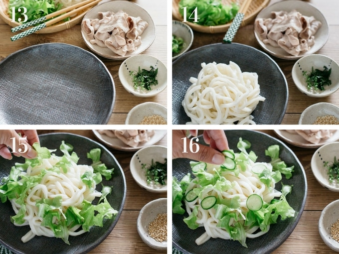 4 panels of photos showing assembling the salad ingredients together