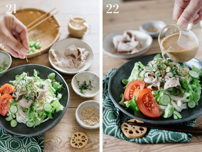 2 panels photos showing assembling all ingredients together to make Japanese cold udon noodle