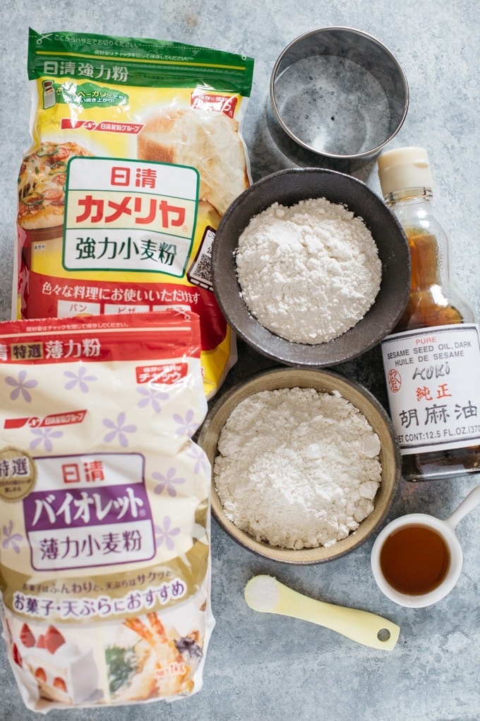 Gyoza wrappers ingredients-flour, water, salt ann oil