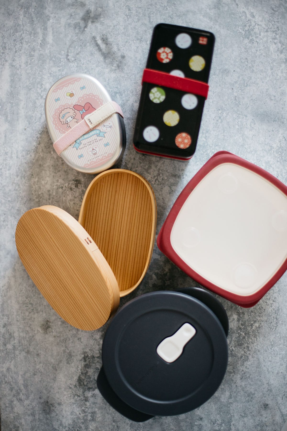 various shapes of Japanese lunch boxes