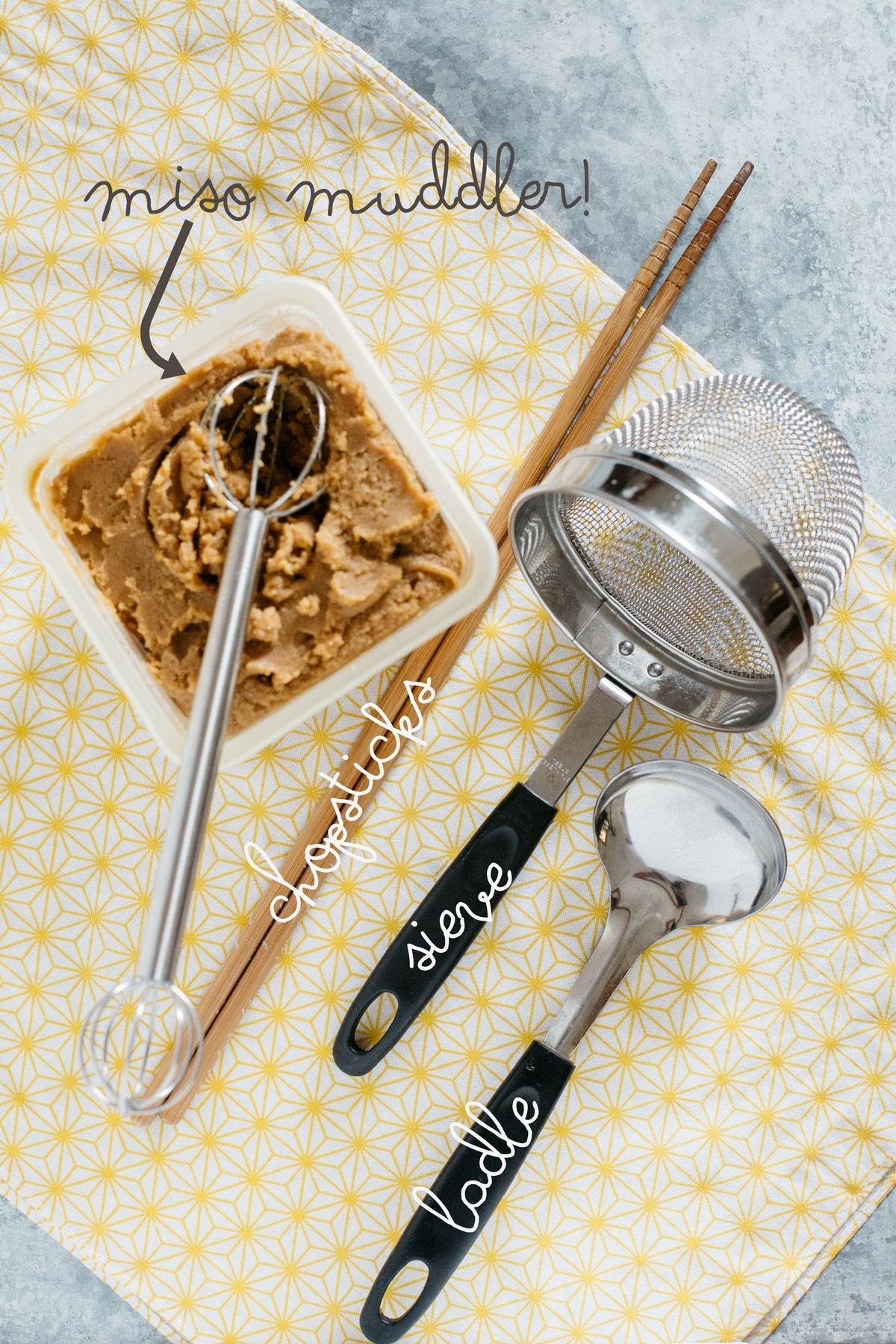 miso soup making equipments, miso muddler, chopsticks, sieve and laddle