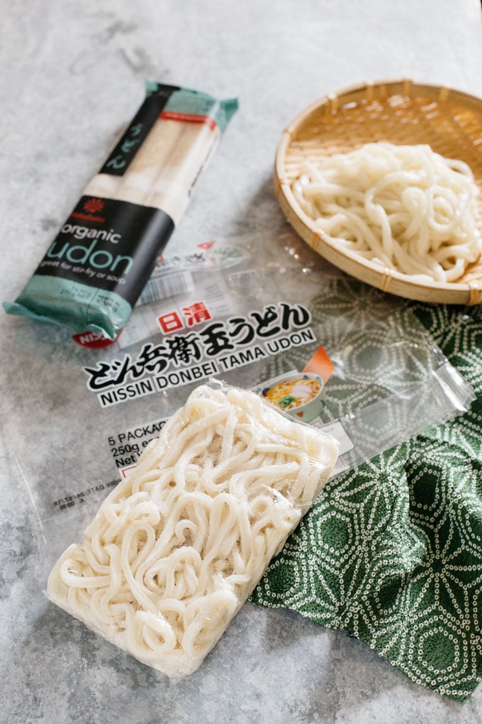 Different types of Udon noodle are displayed, dry and frozen udon