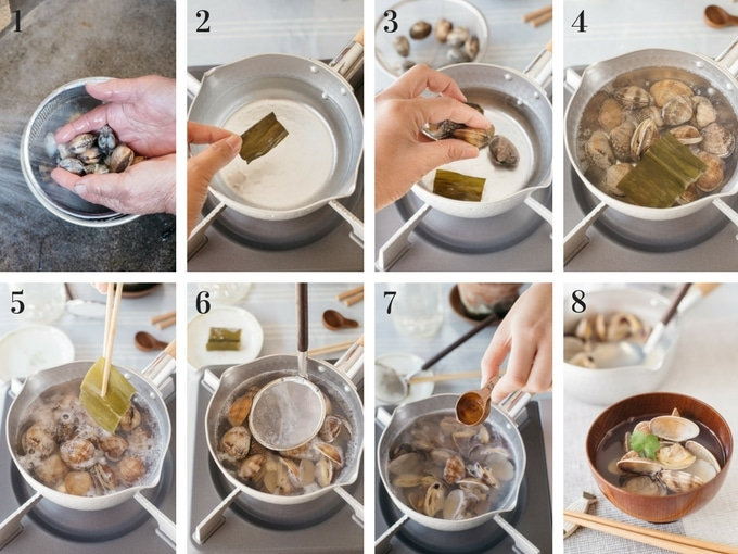 8 Panels of photo showing how to cook Japanese clear soup with clams