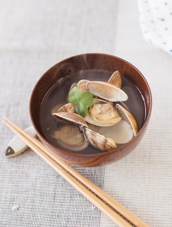 Japanese clear soup served in a small wooden bowl