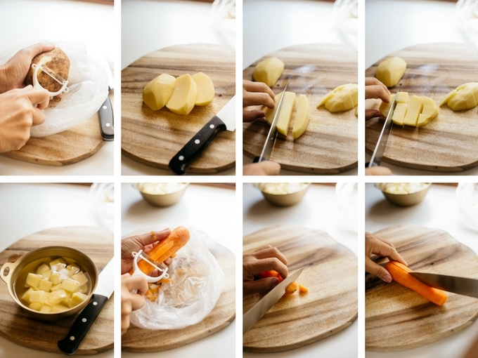 8 panels of photos showing the way of cutting potato and carrot for katsu curry