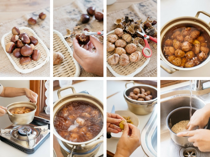 8 panels of photos showing cooking chestnuts Japanese way