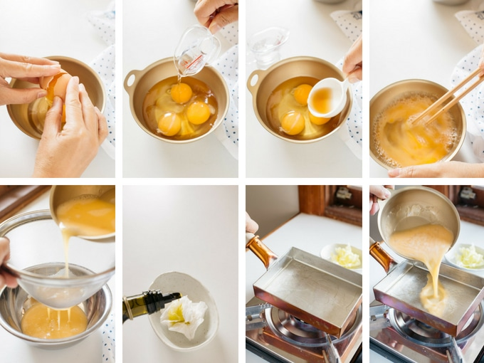 8 photos showing the process of cracking the eggs and add flavours in.