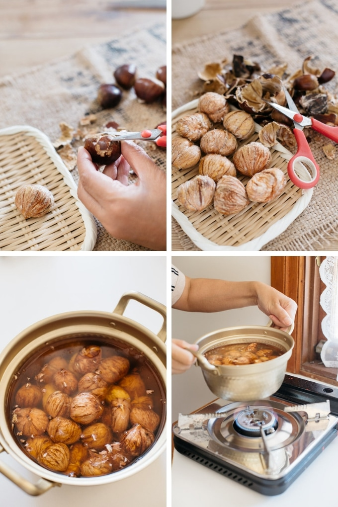 How to remove outer hard shell of chestnuts