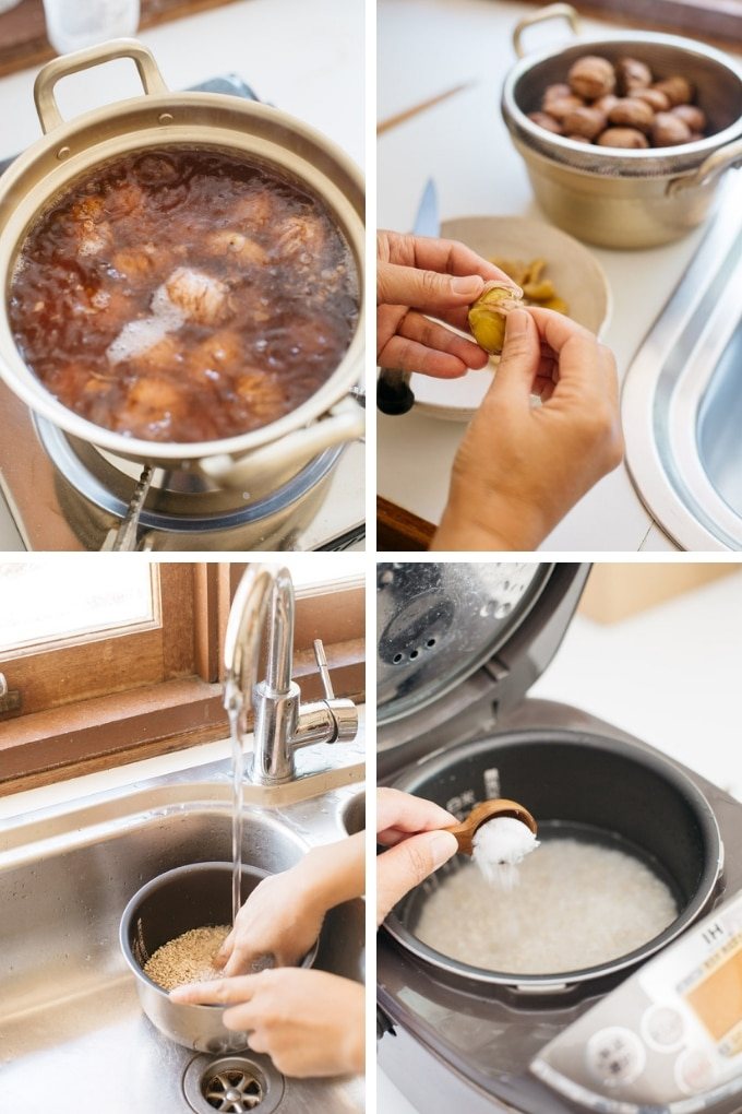 4 photos showing second 4 steps of making chestnuts rice