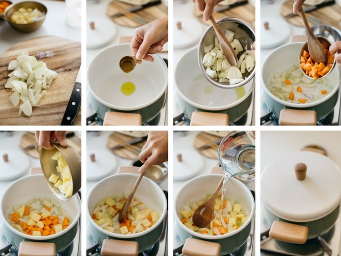 8 panels of photo showing how to cook Japanese curry with store bought curry roux