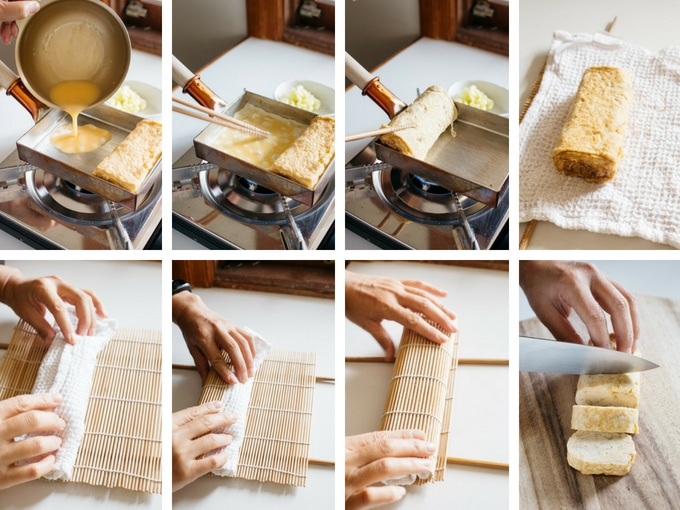 8 photos showing making tamagoyaki process, how to roll it.