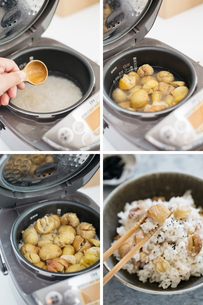 The last 4 steps of making chestnuts rice in 4 photos