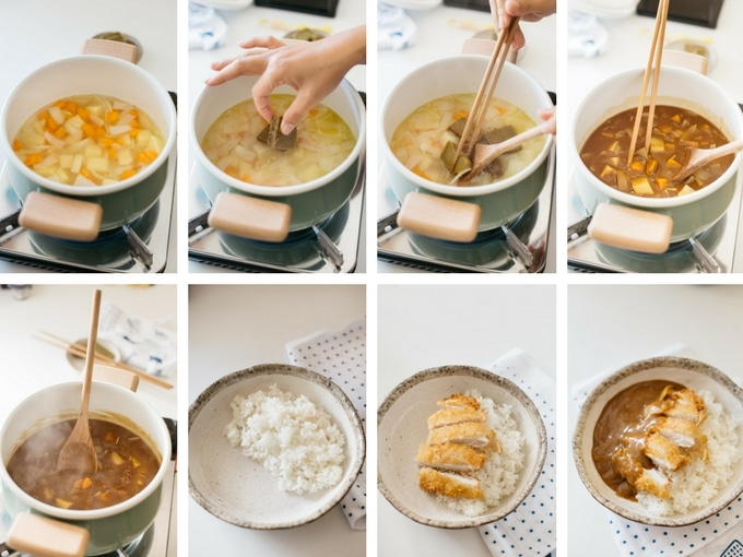 8 panels of photo sowing the curry sauce making process and how to assemble them all together