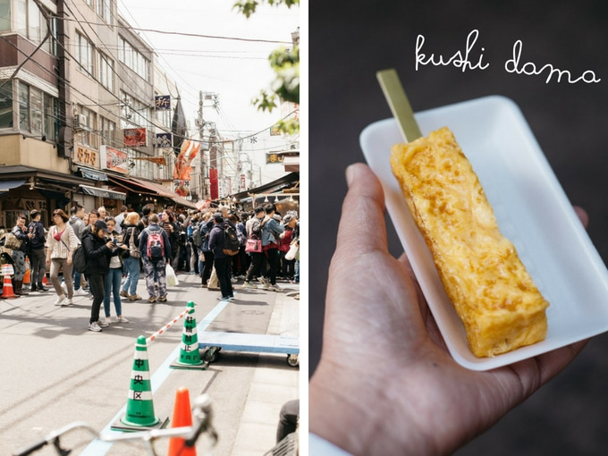 two photos about Tokyo Tsukiji fish market street and tamagoyaki on a skewer