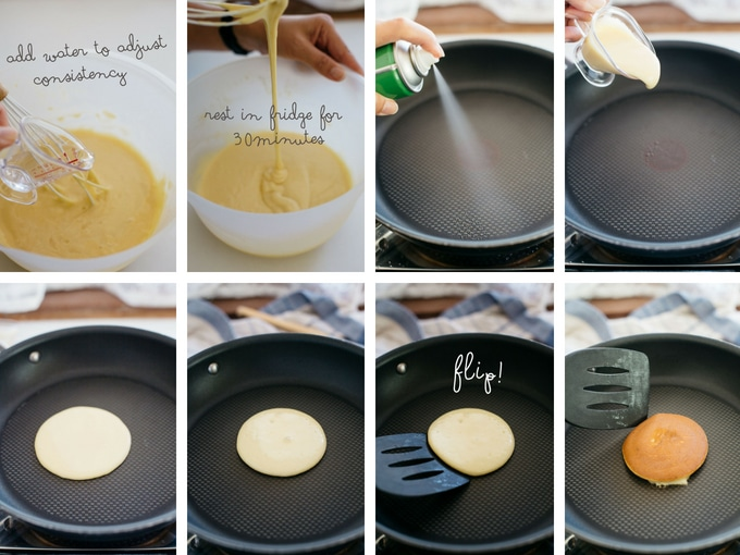 8 phoptos showing the second 8 steps of making dorayaki