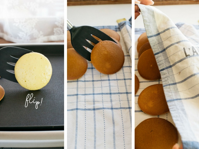 The last three steps of making dorayaki
