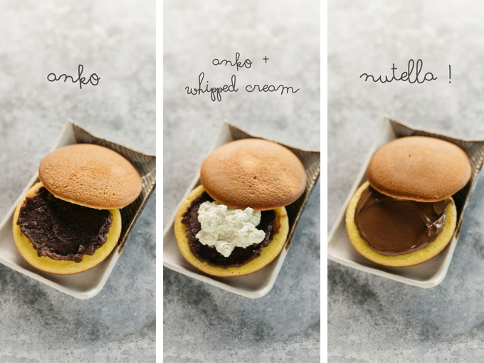 three photos showing three different dorayaki fillings,- azuki bean paste, azuki bean paste and cream, nutella