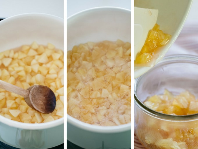 three photos showing the last three steps of making apple jam