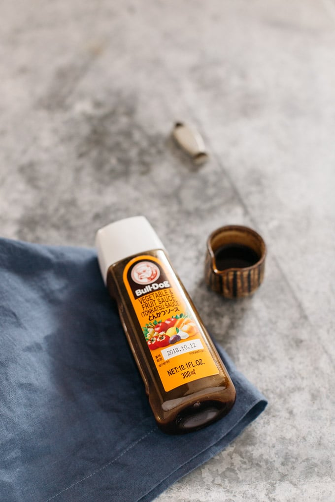 bulldog tonkatsu sauce bottle and little sauce dispenser