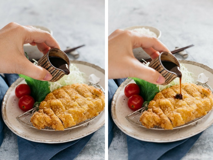 two photos showing tonkatsu before and after pouring tonkatsu sauce