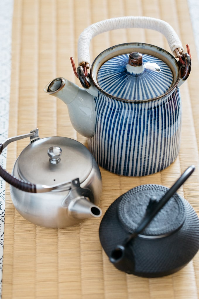 Three different types of Japanese teapots