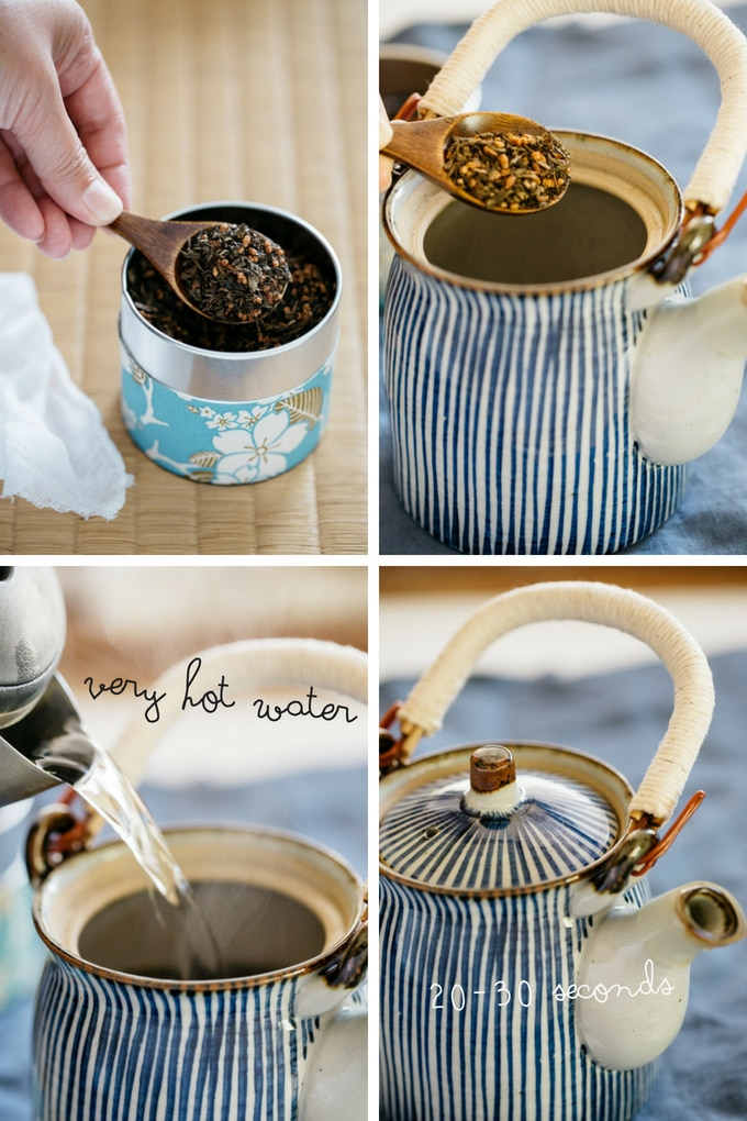 Hojicha first 4 steps to brew