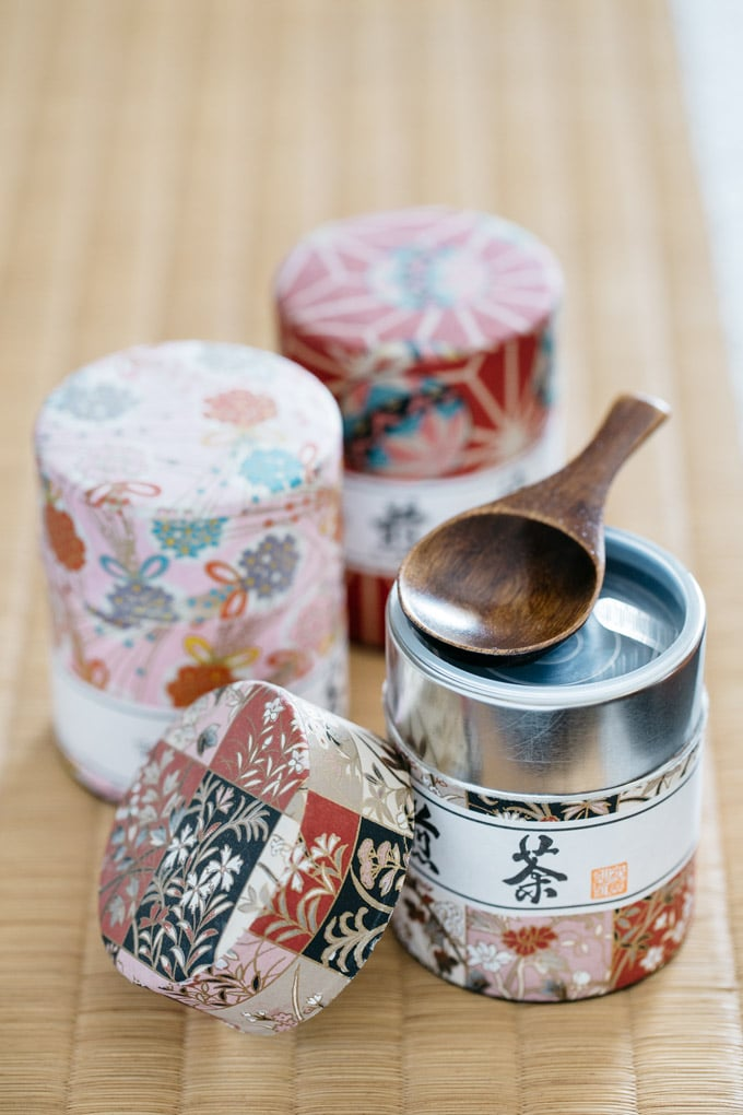 a collection of tea caddy wrapped with beautiful Japanese washi paper