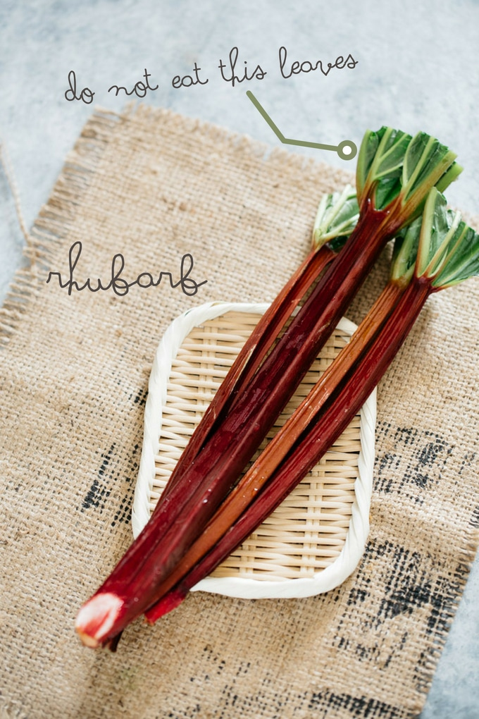 2 rhubarbs on a bamboo tray