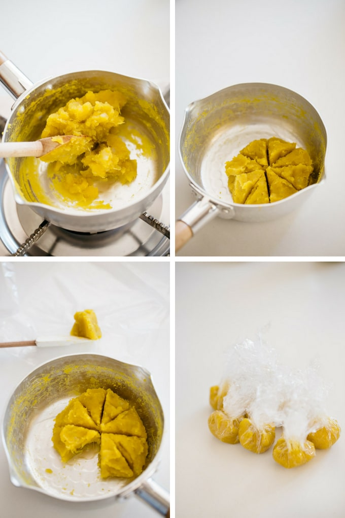 4 photos showing the last 4 steps of making anko paste