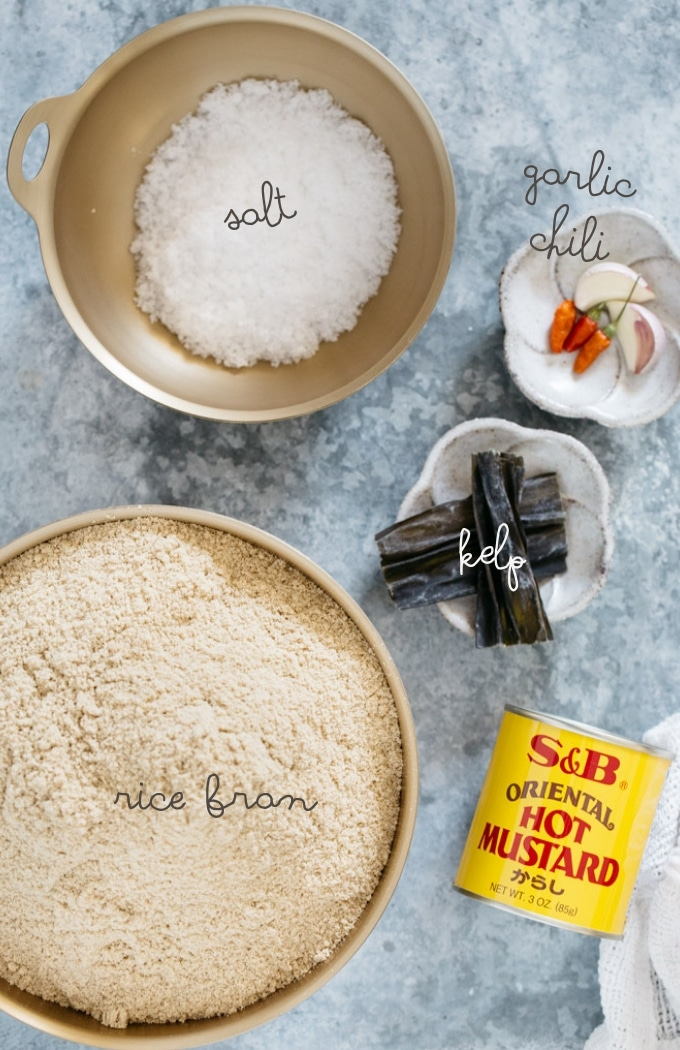 Nukadoko ingredients-rice bran, salt, mustard, kelp, chili and garlic