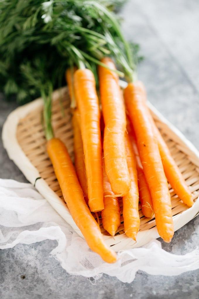 Tsukemono ingredient carrots on bamboo tray