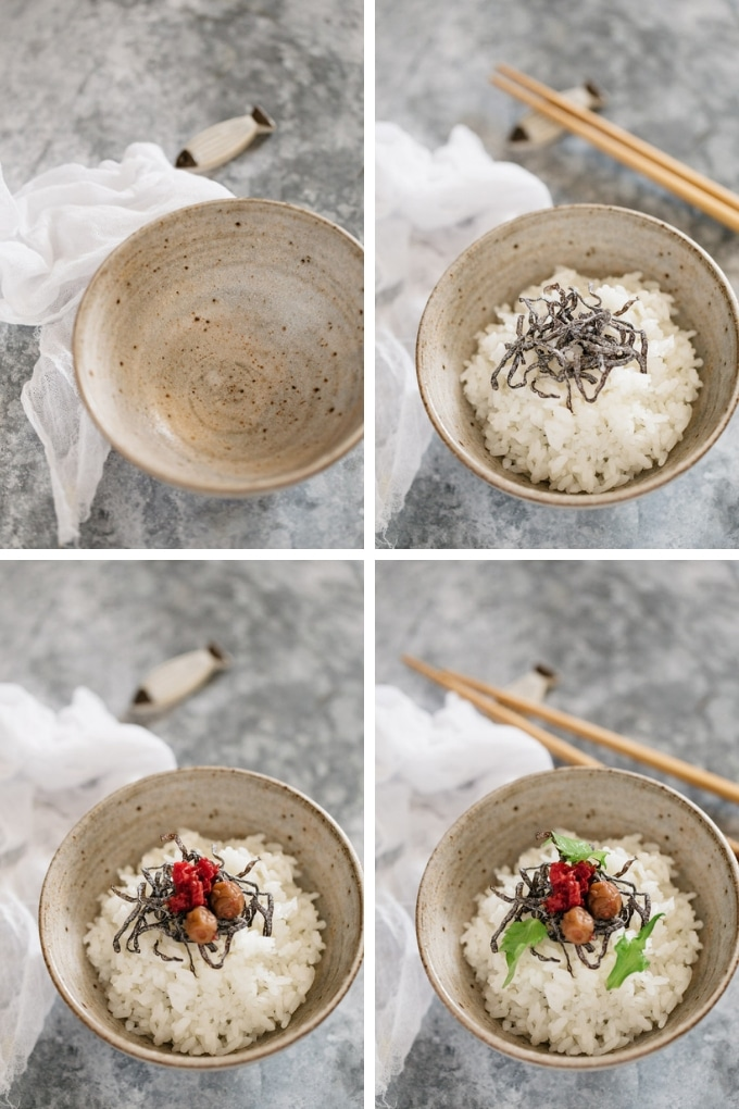 First 4 steps of making ochazuke process in 4 photos