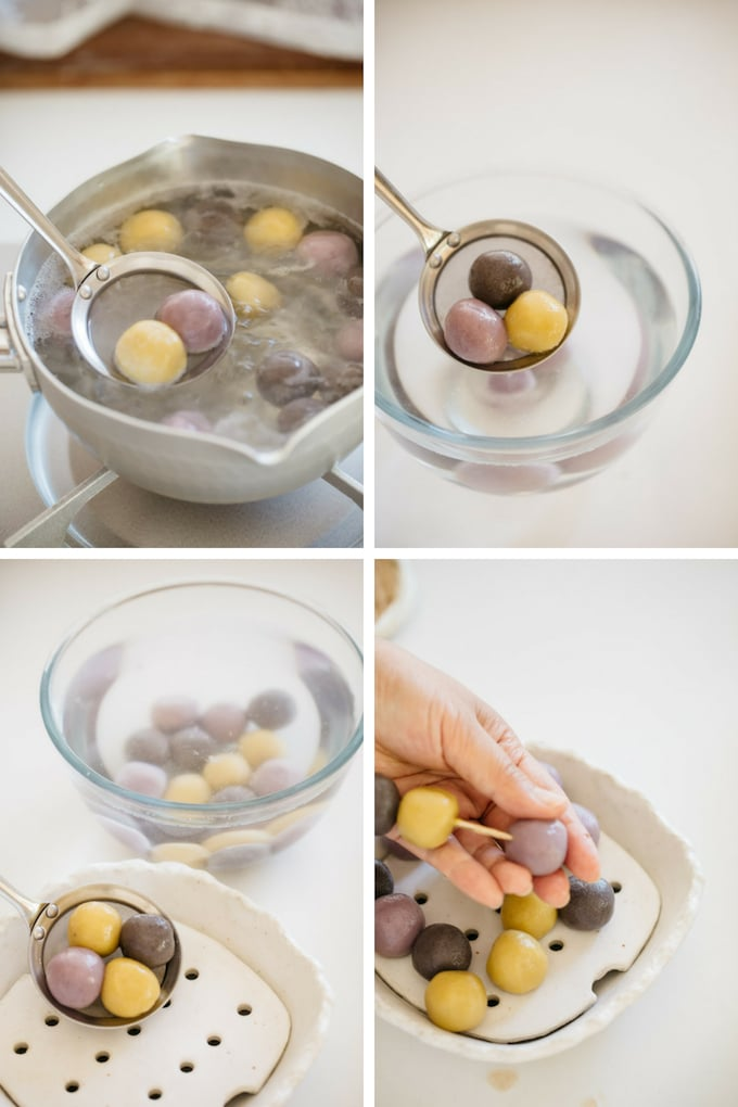The last 4 steps of making halloween three coloured dango in 4 photos