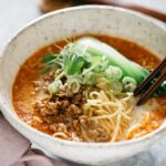 Tantanmen in a noodle bowl