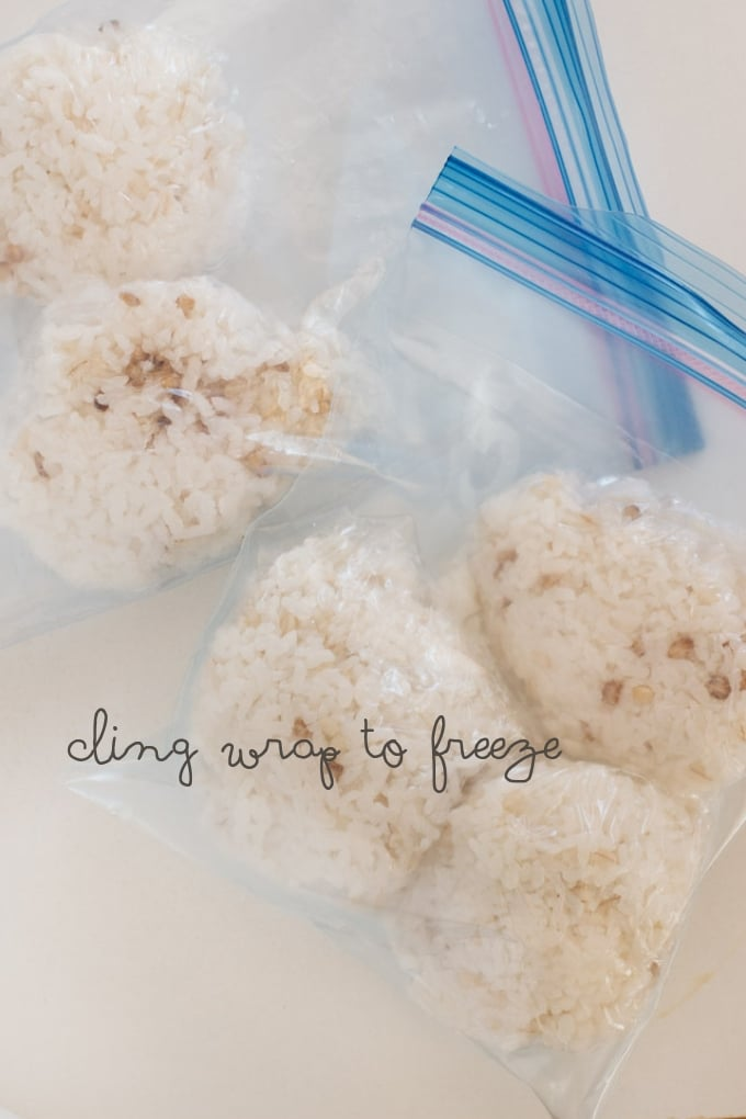 5 rice wrapped with cling wrap and placed in two freezer bag