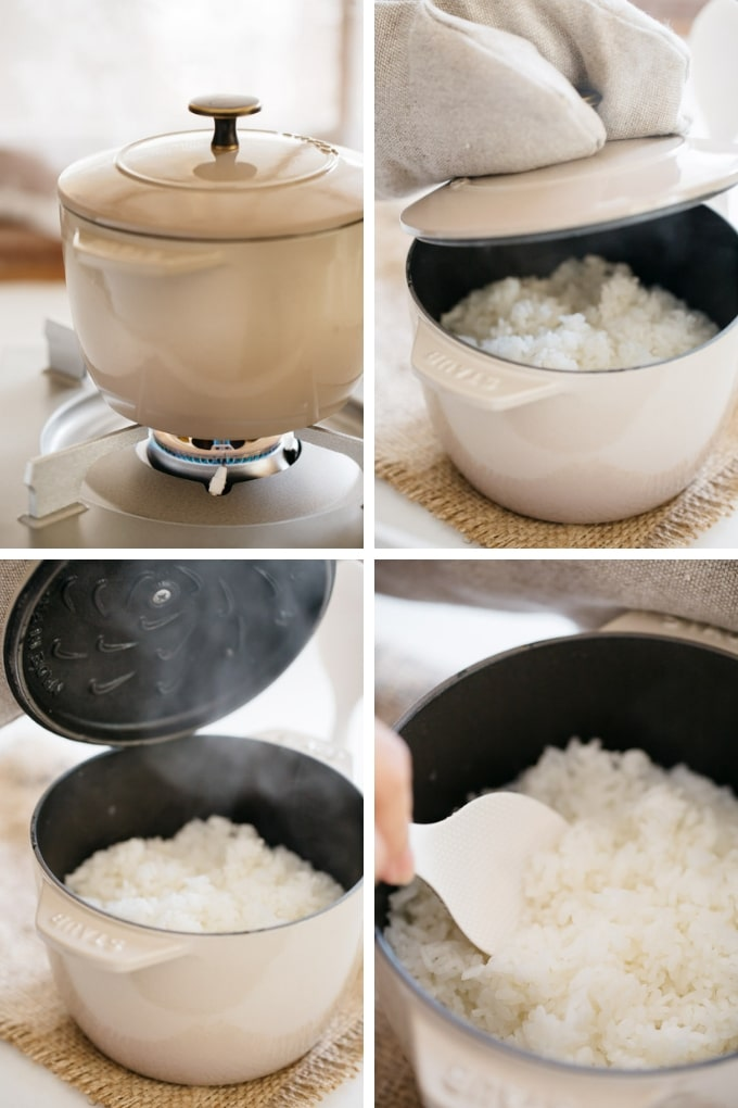 the last 4 steps of how to cook rice, the Japanese way in 4 photos