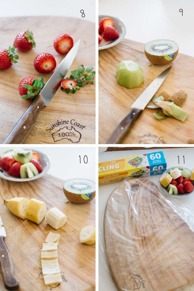 The third 4 steps of making fruit sandwich in 4 photos