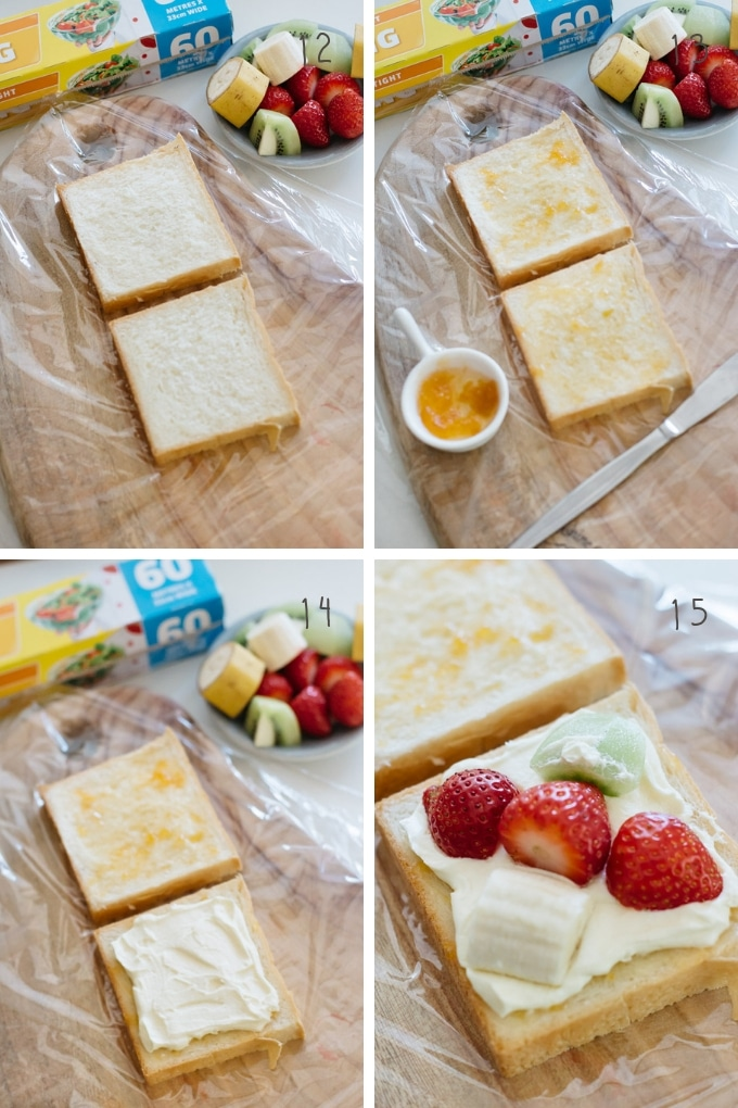The 4th part of making fruit sandwich in 4 photos showing how to sandwich