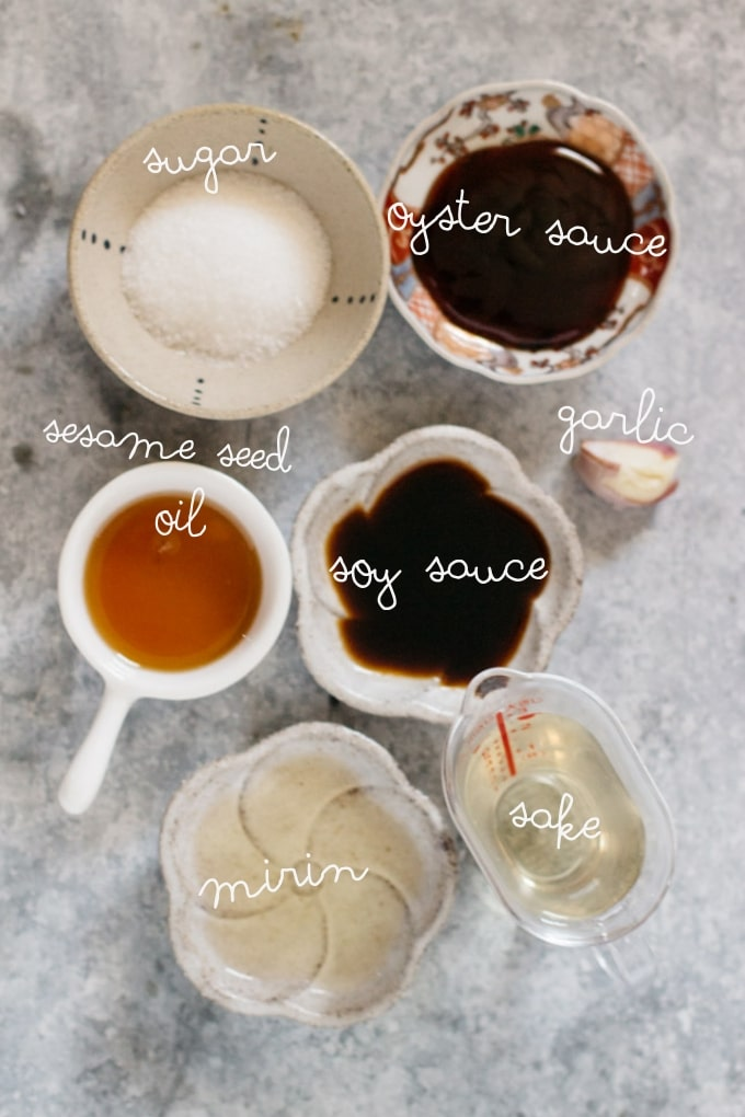 Sauce ingredients- oyster sauce, soy sauce, sake, mirin, sugar, sesame oil, sugar, and garlic