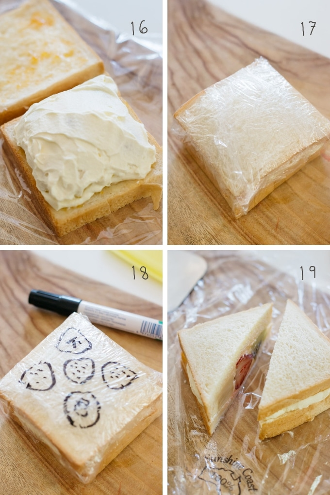 The last 4 steps of making fruit sandwich in 4 photos