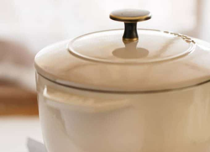 staub brand cast iron rice cooker on a portable stove