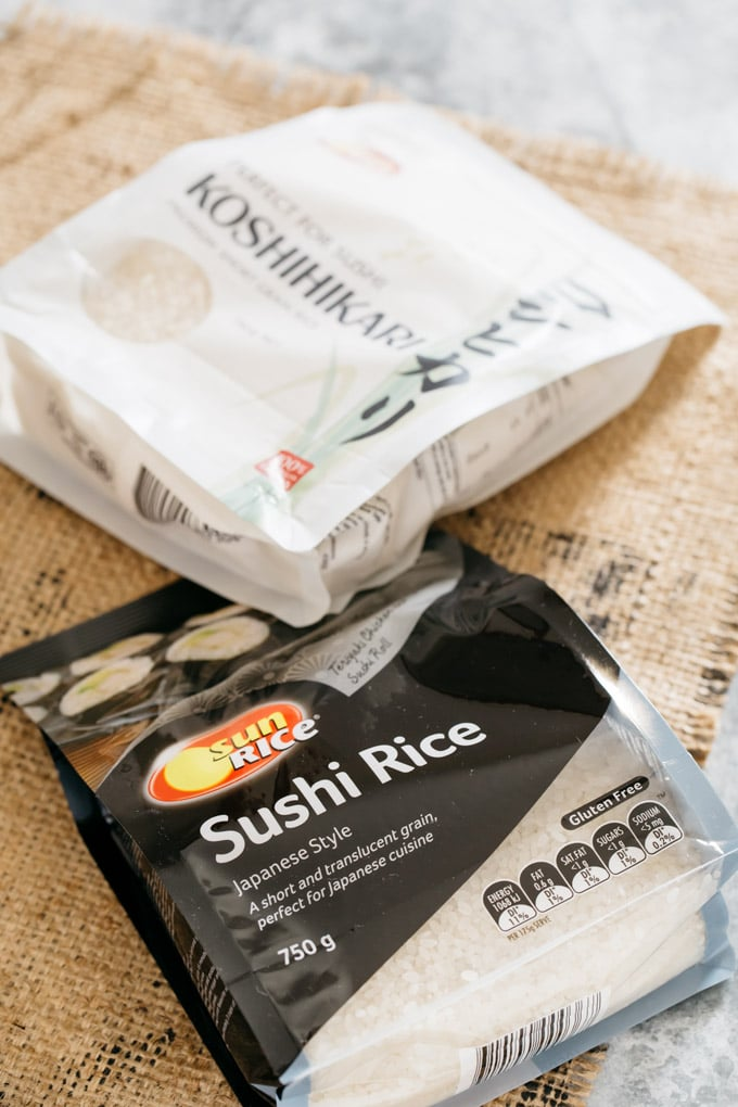Two Japanese rice packets available in Australian supermarkets.