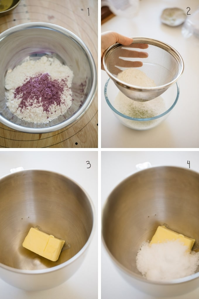 the first 4 steps of making pinwheel cookies in 4 photos
