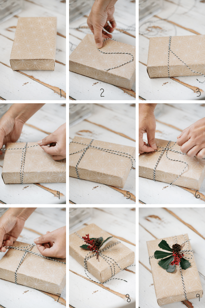 9 photos showing how to tie ribbons around a box and attach tags